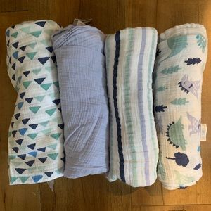 Aden&Anais - four pick baby boy muslin swaddles